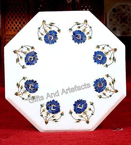 Mesa de centro de mármol octagonal con Pietra Dura Art elegante sofá mesa auxiliar de Indian Handicrafts 30,5 cm