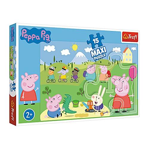 Trefl, 14334 Puzzle, Glücklicher Peppa Tag, 15 Maxiteile, Peppa Pig, für Kinder ab 2 Jahren