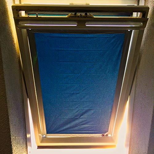 eXsun Roto Sonnenschutz Rollo Dachfenster Verdunkelung Hitzeschutz Thermofix (unbedingt Glasfläche innen ausmessen und vergleichen)! (Roto 11/14 = 92x118cm, blau)