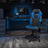 Flash Furniture X10 Gaming Chair Racing Office Ergonomic Computer PC Adjustable Swivel Chair with Flip-up Arms, Blue/Black LeatherSoft