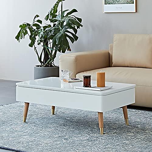 XIAOPENG Mesa de centro minimalista moderna, mesa de centro con estante de almacenamiento y compartimento oculto, anillo de pie con marco de metal para sala de estar