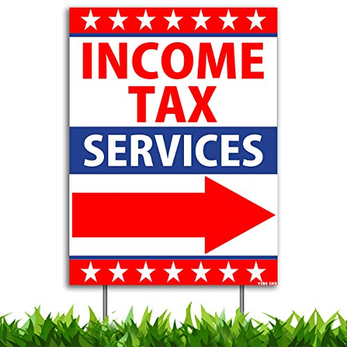 VIBE INK Large 18x24-inches Income Tax Return Services Directional Arrow Yard Sign with Included Metal Stake - Weatherproof