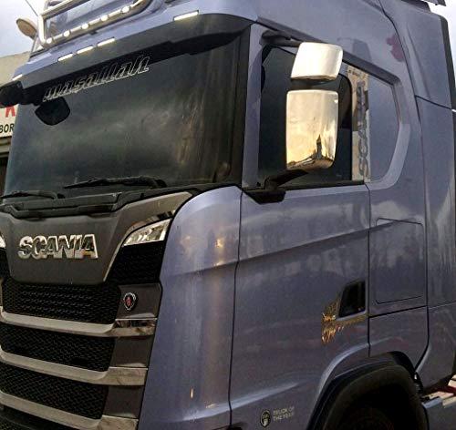 Edelstahl Set von 4 Stück New Generation Scania S 2016 + Chrom Poliert Spiegel Abdeckung Schutzfolien