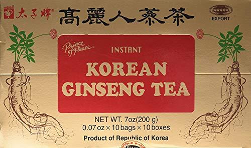 Prince of Peace Té instantáneo de ginseng coreano, paquete de 2 – 100 sobres cada uno – Té de ginseng rojo natural – Extracto de ginseng coreano – Fácil de preparar caliente o frío – Bolsas de té chinas de hierbas – Promueve