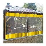 Intemperie Industrial Cortinas Claro Vinilo Porche Paneles Impermeable Lona Viento Proteccion Fácil De Instalar, Tamaño Personalizable (Color : Yellow, Size : 3.1x3.1m/10.2x10.2ft)