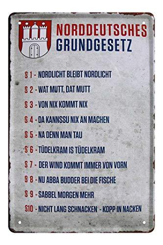 Blechschild Norddeutsches Grundgesetz - Metallschild Frei Hansestadt Hamburg - Wappen - Retro Deko Schild norddeutsche Sprüche Dialekt - lustiges Geschenk Norddeutsche Zugereiste Zugezogene - 20x30cm