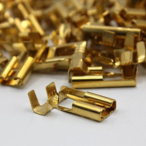 100 Kabelschuh 6,3mm 90° gewinkelt winkel blank 0,5-1,5 Flachsteckhülse Steckverbinder Klemmen zum crimpen