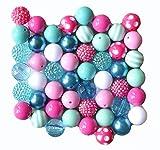 Turquoise and Fuchsia Pink 20mm Chunky Bubblegum Bead 50 Pc Set