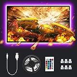 Lepro 2M LED Tira Luz TV, Tira de luz USB con Control Remoto RF, 5050 RGB, Cambio de Color, Iluminación Regulable de Polarización para Monitor de PC de TV de 32-65 Pulgadas (4 x 50 cm Tira de LED)