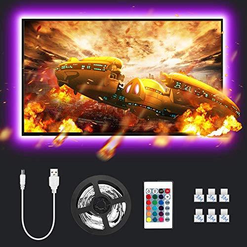 Lepro Striscia LED RGB 2M, USB Alimentata e RF Telecomando Wireless, 5050 SMD, Striscia Luminosa Retroilluminazione TV con 16 Colori Dimmerabili per Monitor PC TV da 32-65 pollici (4 Strisce da 50 cm)
