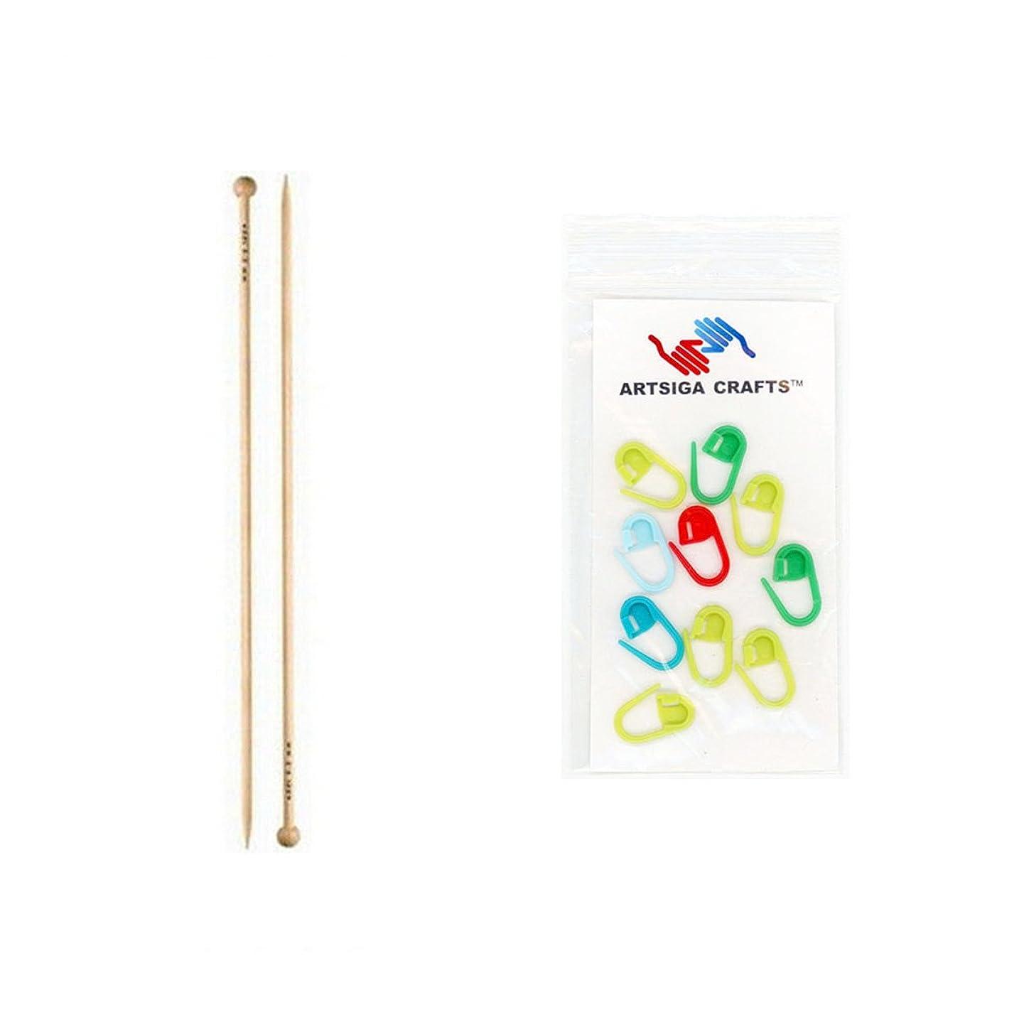 addi Knitting Needle Straight Natura Bamboo 14 inch (35cm) Size US 03 (3.25mm) Bundle with 10 Artsiga Crafts Stitch Markers