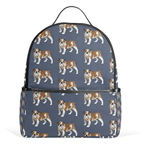Inglese Bulldog Zaino per Uomini Donne Back Pack Borsa a Spalla Zainetto Teenagers Borse da Viaggio Casual Zaino per Viaggio