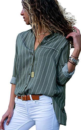 Dokotoo Damen Bluse Elegant Chiffon V-Ausschnitt Langarm Casual Oberteil Lose Langarmshirt Vintage Tunika Hemd T-Shirt S-XXL, Grün, Medium (EU40-EU42)