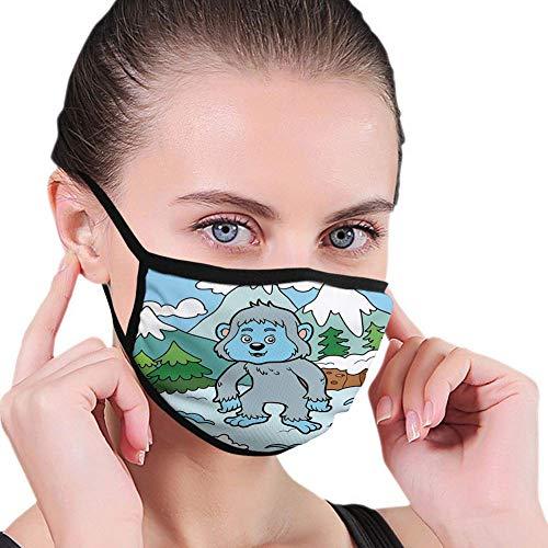 Bequeme Winddichte Maske, bunter Kinderbuchstabe Y für Yeti-Illustration auf schneebedeckten Hügeln Kiefern