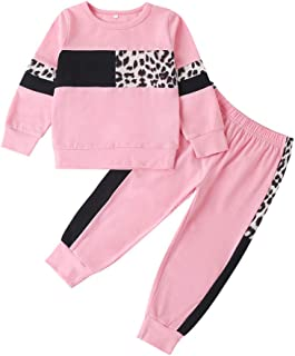 Sponsored Ad - Toddler Girl Clothes Leopard Ruffle Long Sleeves Tops Pants Infant Baby Girl Spring Fall Winter Outfit Set(...