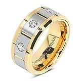 100S JEWELRY Anillos de tungsteno para hombre, oro de 14 quilates y centro de plata cepillado, acabado de combinación, tamaño 8 – 16