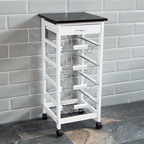 Chef Vida 4 Tier Kitchen Trolley Cart Storage Baskets Drawer, Pine, White