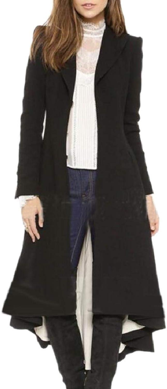 ZXFHZSCA Women Stylish Lapel Dress Coat Outwear Open Wool Long Peacoat