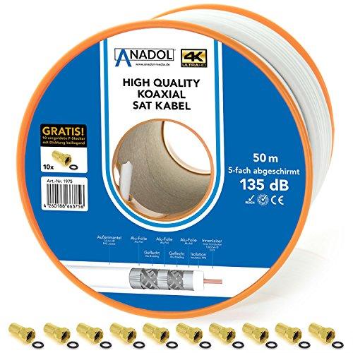 Anadol 5-fach 50m Coaxialkabel 50m - Internet HD 4K UHD 3D DVB S - Brandschutzkabel Norm EN 50575 - Koax Kabel wetterfest - Satelliten-Kabel 135db - Eca zertifiziert - 10 F-Stecker [Gold]