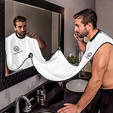 Beard Bib - Hair Clippings Catcher, Grooming Cape Apron, for Man Shaving by Ystar - (White)