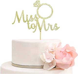 Miss to Mrs with Diamond Ring Cake Topper for Bridal Shower, Wedding, Engagement Party Decorations Gold Glitter