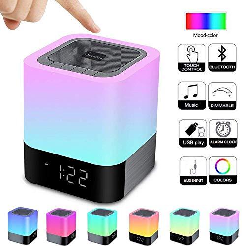 DOOK Touch bedlampje met bluetooth-luidspreker, nachtlampje, tafellamp met RGB-kleurwisseling, led-tafellamp, sfeerlicht, nachtlampje, cadeau voor vrouwen, mannen, tieners, kinderen
