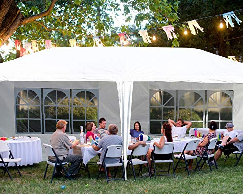 Gazebo Tent Canopy Tent Outdoor Gazebo Canopy Wedding Party Tent, White (10x20ft 4 Removable Sidewalls)