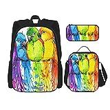 Coloridos loros con Splash Watercolor Print Mochila para niños, adolescentes, bolsa de viaje, bolsa de almuerzo y combinación de estuche