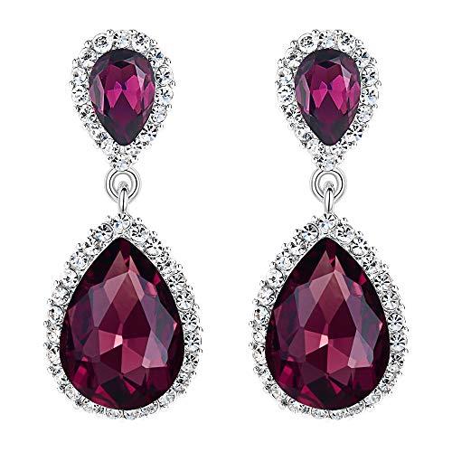 EVER FAITH Women's Austrian Crystal Wedding Tear Drop Dangle Earrings Purple Silver-Tone