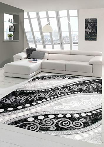 Moderner Teppich Orientteppich Ornamente mit Glitzergarn in Grau Schwatz Creme Größe 200x280 cm