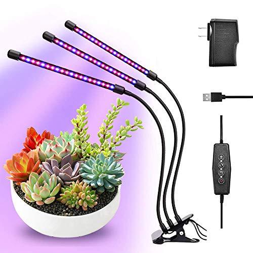 ENCOFT Pflanzenlampe LED 30W Pflanzenlicht Pflanzenleuchte 3 Heads 60 LEDs Wachsen licht Vollspektrum Wachstumslampe für Zimmerpflanzen mit Zeitschaltuhr 3 Arten von Modus 10 Arten von Helligkeit(3)