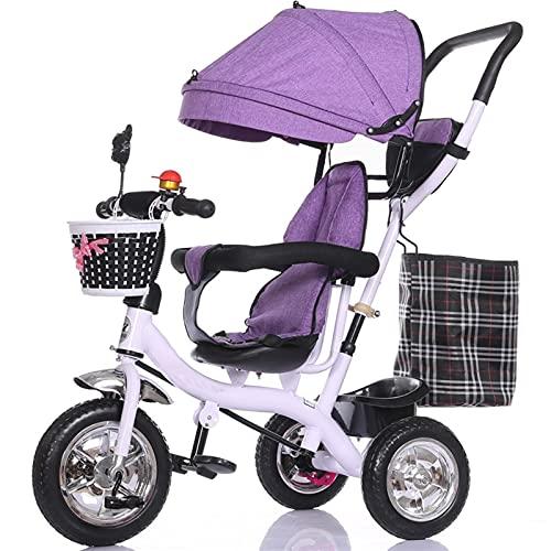 HYAN Bicicleta de Cochecito reclinable de Triciclo de carruaje Plegable para niños Durante 6 Meses - Bicicleta de 5 años con Dosel Resistente al Clima extraíble (Color : Purple)