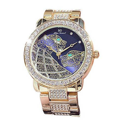 Zwbfu Reloj de Moda para Mujer, Caja de aleación, Reloj de Pulsera analógico, Reloj de Cuarzo Brillante con Diamantes