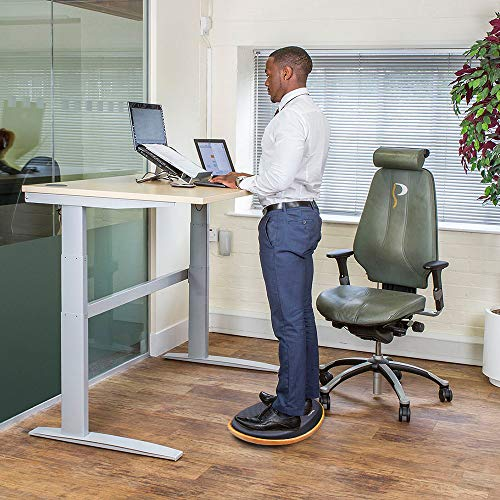 Ergohead Office Standing Desk Anti Fatigue Mat Balance Board Wooden Wobble Stability Rocker Ergonomically Engineered for Office Stand Up Desks Desk Riser Workstation, Home, Gym, Kitchen