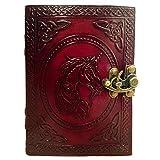 Leder Journal Book Unicorn Geprägtes Notizbuch Handmade Book of Shadows Handbook Blanko Unliniertes Papier Büro Tagebuch College Buch Poesie Buch Skizzenbuch 5 x 7 Zoll