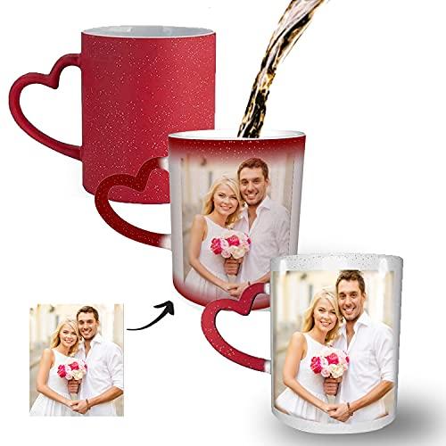 Tasse mit Foto,Magische Kaffeetasse mit Ihrem Wunschfoto,für Gedenk Geschenke für Paare und Familie,Rot Fototasse Kaffeetassen