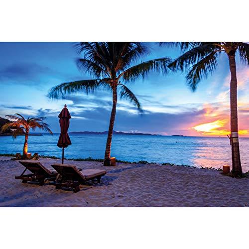 GREAT ART XXL Poster – Twilight Sonnenuntergang am Strand – Zwielicht Strand Bild Deko Meer Paradies Sonne Ozean Wanddekoration Wandbild Sandstrand Motiv Dekoration Fotoposter (140 x 100 cm)