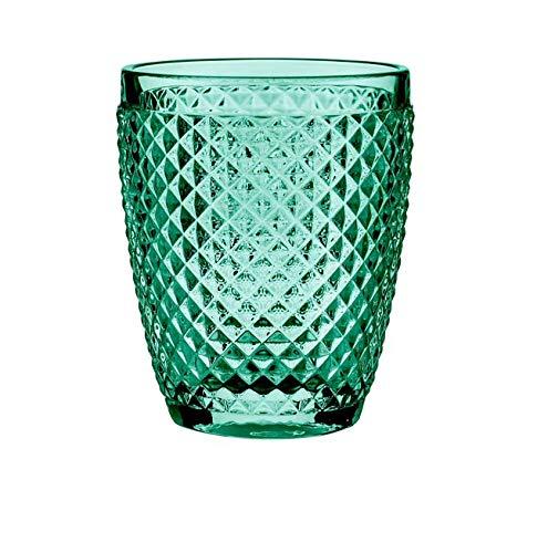 B'GHEST Set 6 uds. Diamante Vaso bajo Agua/Vino Fabricado en Vidrio. Capacidad 25 cl. Color:Azul Turquesa.
