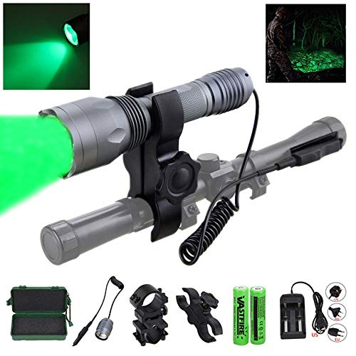 VASTFIRE 350 Yard CREE LED Green Flashlight Kit Hog Coyote