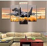 5 piezas Jet Fighter Mikoyan MiG-29 lienzo pintura arte de la pared lienzo póster de pared imágenes sala de estar 150x80 cm con marco
