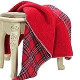 JUDYBRIDAL Premium Plaid Fleece Throw Blanket Super Soft Warm TV Blanket Plush Fleece Christmas Decorative Throw (51' x 63', Red Plaid)