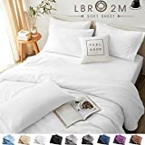 LBRO2M Bed Sheets Set King Size 6 Piece 16 Inches Deep Pocket 1800 Thread Count 100% Microfiber Sheet,Bedding Super Soft Hypoallergenic Breathable,Resistant Fade Wrinkle Cool Warm (White)