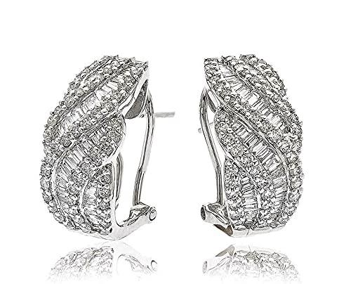 Pendientes de aro redondos de 2 quilates con diamantes de corte baguette y brillantes en oro blanco de 18 k