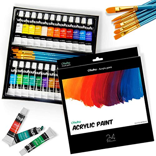 Ohuhu Acrylfarben Set, 24 Reichhaltige Pigmentfarben(12ml), 6 Kunstpinsel, zum Malen von Leinwand, Ton, Keramik & Kunsthandwerk, ungiftig & schnell trocknend für Anfänger, Künstler