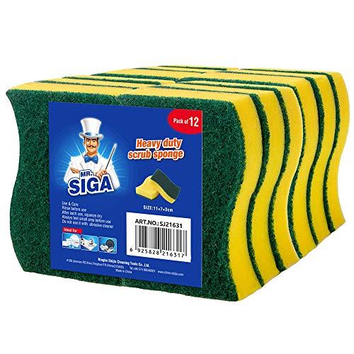 MR.SIGA Poetsspons spoelspons keukenspons dubbelzijdig reinigingsspons vlekverwijderaar pad, 12 stuks, afmetingen: 11 x 7 x 3 cm