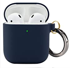 DamonLight Premium Silicone Airpods Case with Carabiner[Front LED Visible][with no Hinge] Full Protective Cover Skin Compatible with Apple Airpods 1&2(Midnight Blue)