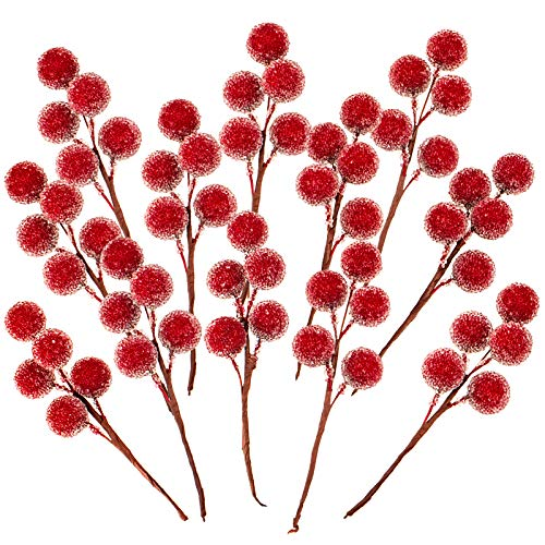 Whaline Christmas Artificial Berries Red Frosted Holly Berry Stems Christmas Berry Picks Christmas Wreath Decoration Supplies for Garland Xmas Tree Crafts Gift Home Wedding Holiday Party, 12 Pack