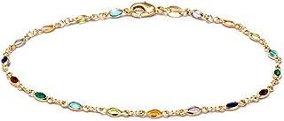 Barzel 18K Gold Plated Gold and Multi Color Crystal Baguette Anklet