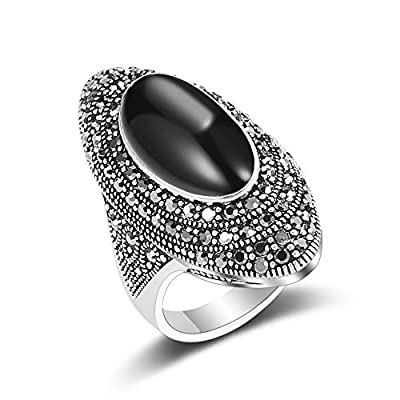 Mytys Retro Black Marcasite Crystal Rings Vintage Silver Plated