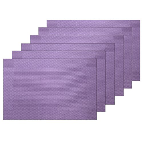 Guwheat Placemats Dining Room Table Mats Woven Vinyl Washable Durable Heat-resistant Non-skip Kitchen Strip PVC Placemats (6, Purple)